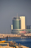 Manama, Bahrain: Harbour House, part of Bahrain Financial Harbour towers - BFH - view from the fishing harbour - Ahmed Janahi Architects - photo by M.Torres