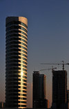 Manama, Bahrain: Viva tower at sunset - Shaikh Khalifa Bin Salman highway - photo by M.Torres