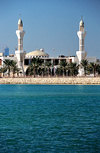 Muharraq, Muharraq Island, Bahrain: mosque by the water on Khalifa Al Kjabeer Highway - photo by M.Torres