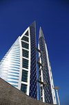Manama, Bahrain: Bahrain World Trade Center - BWTC - sails against blue sky - prime real estate on King Faisal Highway - photo by M.Torres