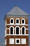 Nesvizh / Nyasvizh, Minsk Voblast, Belarus: Castle tower - red brick construction - photo by A.Dnieprowsky