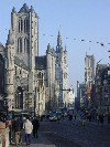 Belgium - Gent/Gand/Ghent (Flanders / Vlaanderen - Oost-Vlaanderen province): Gent: Cataloniëstr. - view of the three towers from the Sint Michiels bridge (photo by Peter Willis)