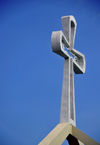 Belmopan, Cayo, Belize: St. Ann's Anglican Church - cross and sky - Unity Blvd - photo by M.Torres