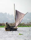 Lake Nokou�, Benin: fisherman in his sail boat - pirogue traditionnelle - photo by G.Frysinger
