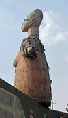 Ganvie, Benin: figure at the market entrance - photo by G.Frysinger