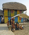 Ganvie, Benin: at the market - musicians near the colourful restaurant and hostel 'Chez M'- photo by G.Frysinger