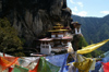 Bhutan - Paro dzongkhag - Prayer flags with Taktshang Goemba in the background - photo by A.Ferrari