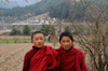 Bhutan - Bumthang valley - young monks, outside Kurjey Lhakhang - photo by A.Ferrari
