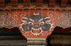 Bhutan - Thimphu - spoted demon - painting on support column - city center - photo by A.Ferrari