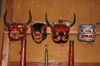 Bhutan - animal heads - Bhutanese festival masks, in the Ugyen Chholing palace - photo by A.Ferrari
