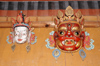 Bhutan - Bhutanese festival masks, in the Ugyen Chholing palace - photo by A.Ferrari