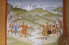 Bhutan - kings negotiate - painting, in the Ugyen Chholing palace - photo by A.Ferrari