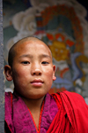 Bhutan, Paro: Young Monk in Paro Dzong - photo by J.Pemberton