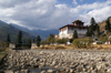 Bhutan - Paro: Paro Dzong, seen from the banks of Paro Chhu - photo by A.Ferrari