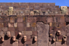 Tiwanaku / Tiahuanacu, Ingavi Province, La Paz Department, Bolivia: Semi-Underground Temple, a red sandstone pit with carved enemy heads - a square sunken courtyard with a north-south axis - photo by C.Lovell