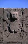 Tiwanaku / Tiahuanacu, Ingavi Province, La Paz Department, Bolivia: central figure of the the Gate of the Sun situated in the Kalasasaya Temple - man at the center of 24 sun rays - photo by C.Lovell