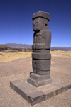 Tiwanaku / Tiahuanacu, Ingavi Province, La Paz Department, Bolivia: the Ponce Monolith in the center of the Kalasasaya Temple ritual platform - Temple of Stopped Stones - photo by C.Lovell