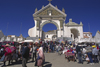 Copacabana, Manco Kapac Province, La Paz Department, Bolivia: people at the church of the Virgin during fiesta time - Basilica of Our Lady of Copacabana, the patron saint of Bolivia - photo by C.Lovell