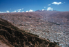 La Paz, Bolivia: city and horizon - Mt. Illimani (21120 ft ) in background - a bowl surrounded by the high altiplano - photo by J.Fekete