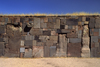 Tiwanaku / Tiahuanacu, Ingavi Province, La Paz Department, Bolivia: magnetized stones at the Akapana Temple - sandstone pillars and ashlars of andesite masonry - photo by C.Lovell