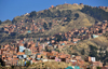 La Paz, Bolivia: northern suburbs and the woods of the Bosquecillo area - hill top cross - photo by M.Torres