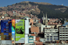 La Paz, Bolivia: city center, El Rosario, the northern suburbs and the woods of the Bosquecillo area - billboards and spires of La Recoleta Church - photo by M.Torres