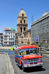 La Paz, Bolivia: Dodge micro-bus going along Calle Figueroa - San Francisco square and church in the background - Porciuncula retirement home - photo by M.Torres
