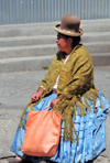 La Paz, Bolivia: Aymara woman with Chola dress, bowler hat and shawl rests in Plaza de los H�roes - photo by M.Torres