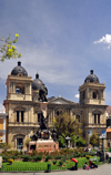 La Paz, Bolivia: Metropolitan Cathedral, started in 1835 and the Pedro Murillo monument - hosts the remains of Mariscal Andr�s de Santa Cruz y Calahumana - Plaza Murillo, former Plaza de los Espa�oles - photo by M.Torres