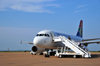 Gaborone, South-East District, Botswana: Sir Seretse Khama International Airport - passengers board a South African Airways flight to Johannesburg - Airbus A319-131 - ZS-SFJ cn 2379 - Star Alliance - photo by M.Torres