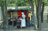 Maun, North-West District, Botswana: local tailor using her sewing machine al-fresco - photo by J.Banks