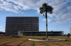 Brazil / Brasil - Brasilia: Brasilia: Buriti Palace, Buriti quare / Governo do Distrito Federal - Gabinete do Governador - Pra�a Buriti - Eixo Monumental - Projeto do arquiteto Mauro Jorge Esteves - palmeira Buriti - photo by M.Alves