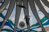 Brazil / Brasil - Brasilia: the Cathedral - stained glass roof by Marianne Peretti - angels by Alfredo Ceschiatti / a catedral - arquitecto: Oscar Niemeyer - Catedral Metropolitana Nossa Senhora Aparecida - interior - vitrais - anjos em alum�nio fundido - Unesco world heritage site - photo by M.Alves