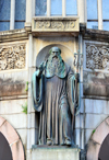 São Paulo, Brazil: 1912 image of St. Benedict on the facade of the abbey at the Monastery of St. Benedict / Mosteiro de São Bento - Romanesque Revival architecture, architect Richard Berndl - photo by M.Torres
