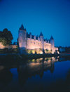Josselin - Brittany, France: chateau Josselin and the River Oust - nocturnal - photo by A.Bartel