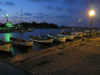 Sozopol - Burgas province: port at night (photo by J.Kaman)