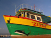 Nesebar: the trawler Zarku - prow - dolphin (photo by J.Kaman)