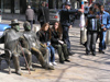 Sofia: people and statues on a bench