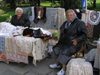 Bulgaria - Sofia: Old ladies selling embroidered cloths - decorative cloths - Bulgarian embroidering (photo by J.Kaman)