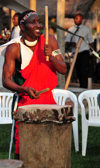 Bujumbura, Burundi: Karyenda drum - Burundian drummer, part of a percussion ensemble at a wedding - photo by M.Torres
