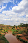 Gitega / Kitega, Burundi: Ruvyironza River is a river - the most remote source of the Nile - seen from the RN 2 highway - photo by M.Torres