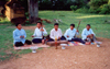 Angkor, Cambodia / Cambodge: Phnom Bakeng - traditional musicians - handicaped by land mines - photo by Miguel Torres
