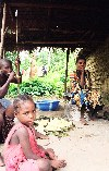 Cameroon - Kribi / KBI (Sud province): family life at Pygmie village