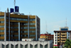 Cameroon, Douala: BICEC bank building, Banque Populaire group,  office tower - facade with golden panels - Banque International du Cameroun pour l'Epargne et le Crédit - photo by M.Torres