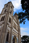 Cameroon, Douala: façade of the Catholic Cathedral of St Peter and St Paul of Bonadibong - Romanesque Revival architecture - Akwa quarter - cathedrale St Pierre et St Paul - photo by M.Torres
