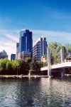 Canada / Kanada - Calgary, Alberta: Sheraton suites, Canterra tower and EY tower seen from Prince island - photo by M.Torres