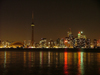 Toronto, Ontario, Canada / Kanada: skyline - night and Lake Ontario - photo by R.Grove