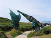 Canada / Kanada - Newfoundland / Terre-Neuve / Terra Nova - Anse-aux-Meadows - Great Northern Peninsula: sculpture over the pathway from the museum to the archaeological site, symbolises the closing of the circle of mankind's expansion around the planet - photo by B.Cloutier