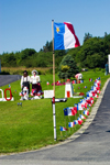 Canada 354 Scenic view Acadian flags during the 400th anniversary of the landing of the French in North America in Acadian region near Pubnico in western Nova Scotia, Canada - photo by D.Smith