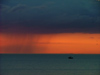 Canada - Ontario - Lake Ontario: rain against a red sky - photo by R.Grove